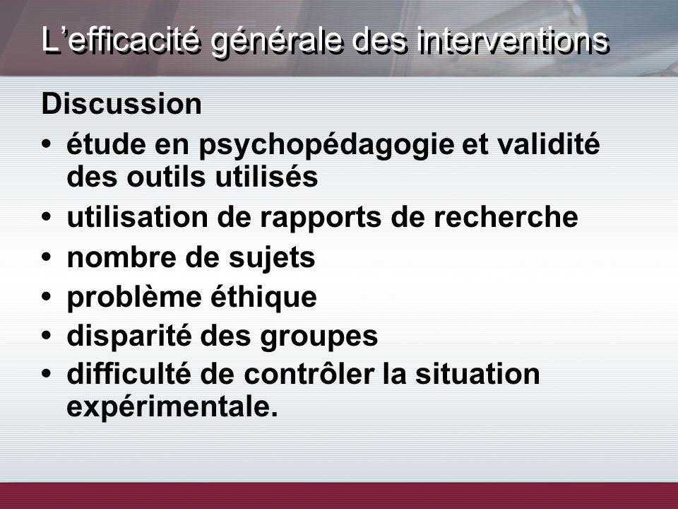 Lefficacité générale des interventions Discussion étude en psychopédagogie et validité des outils utilisés utilisation de rapports de recherche nombre