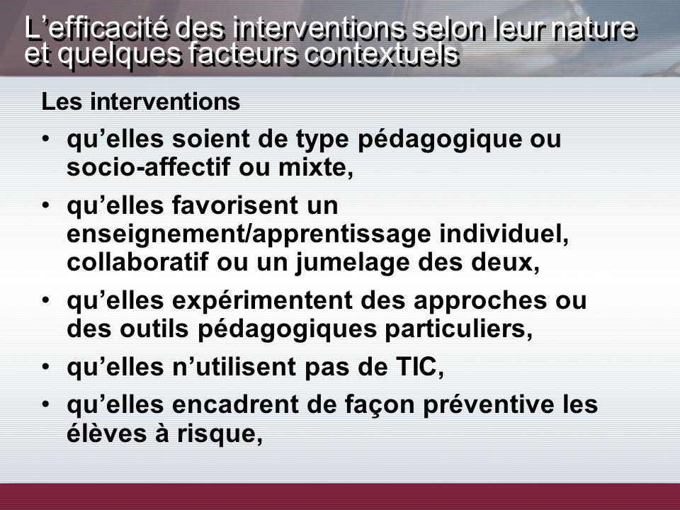 Lefficacité des interventions selon leur nature et quelques facteurs contextuels Les interventions quelles soient de type pédagogique ou socio-affecti