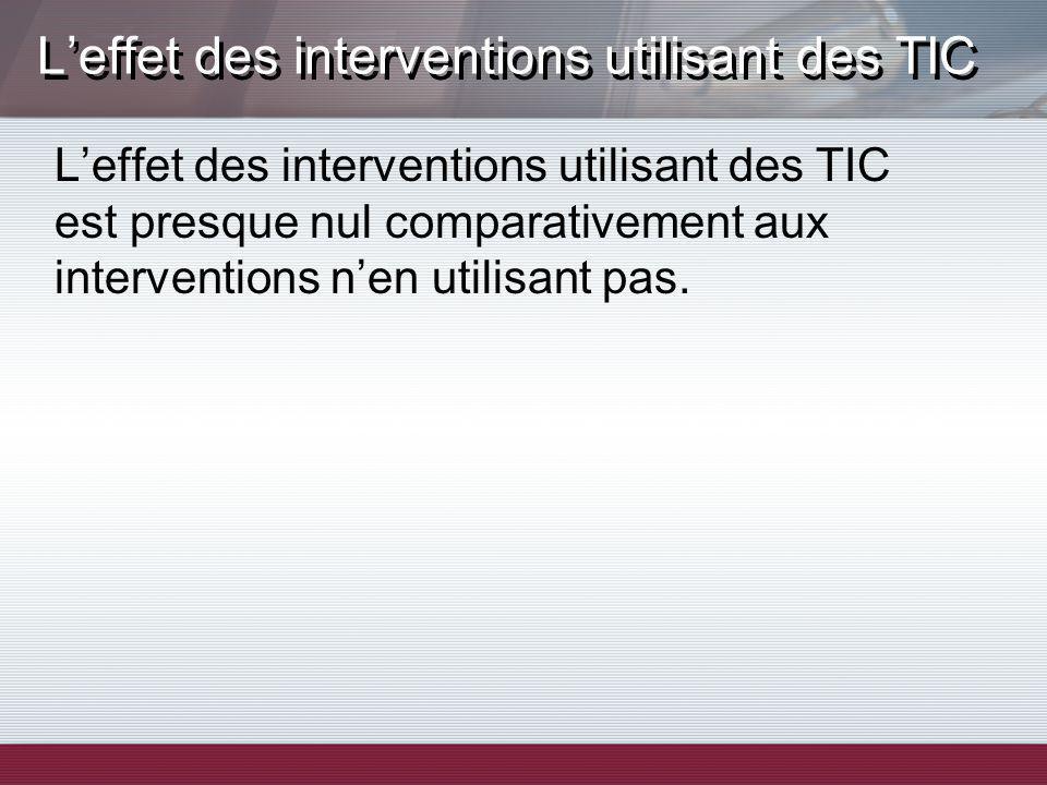 Leffet des interventions utilisant des TIC Leffet des interventions utilisant des TIC est presque nul comparativement aux interventions nen utilisant pas.