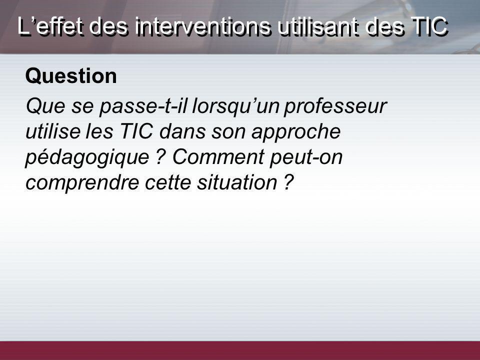 Question Que se passe-t-il lorsquun professeur utilise les TIC dans son approche pédagogique ? Comment peut-on comprendre cette situation ?