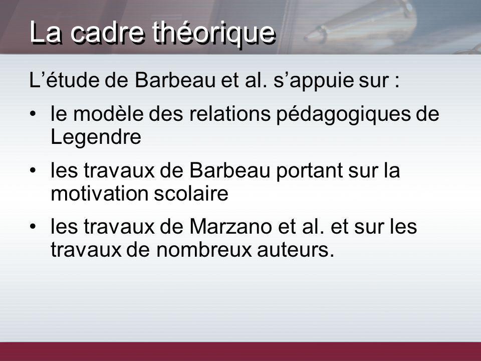 Létude de Barbeau et al. sappuie sur : le modèle des relations pédagogiques de Legendre les travaux de Barbeau portant sur la motivation scolaire les