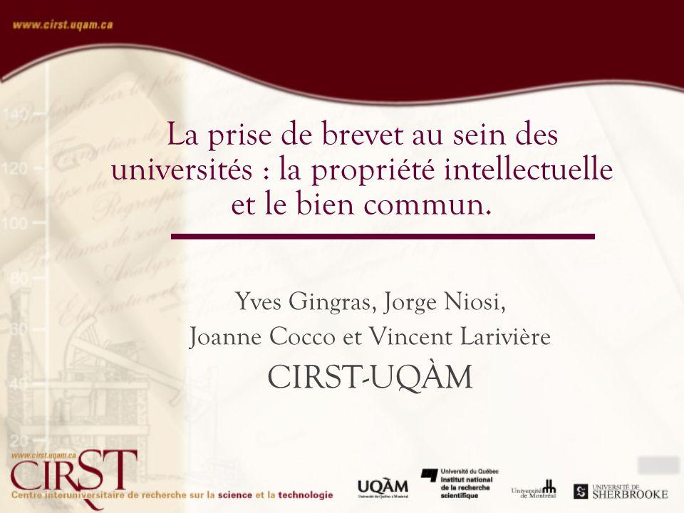 La prise de brevet au sein des universités : la propriété intellectuelle et le bien commun.