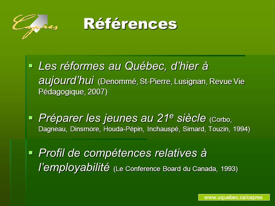 Références Références Les réformes au Québec, dhier à aujourdhui (Denommé, St-Pierre, Lusignan, Revue Vie Pédagogique, 2007) Les réformes au Québec, dhier à aujourdhui (Denommé, St-Pierre, Lusignan, Revue Vie Pédagogique, 2007) Préparer les jeunes au 21 e siècle (Corbo, Dagneau, Dinsmore, Houda-Pépin, Inchauspé, Simard, Touzin, 1994) Préparer les jeunes au 21 e siècle (Corbo, Dagneau, Dinsmore, Houda-Pépin, Inchauspé, Simard, Touzin, 1994) Profil de compétences relatives à lemployabilité (Le Conference Board du Canada, 1993) Profil de compétences relatives à lemployabilité (Le Conference Board du Canada, 1993) www.uquebec.ca/capres