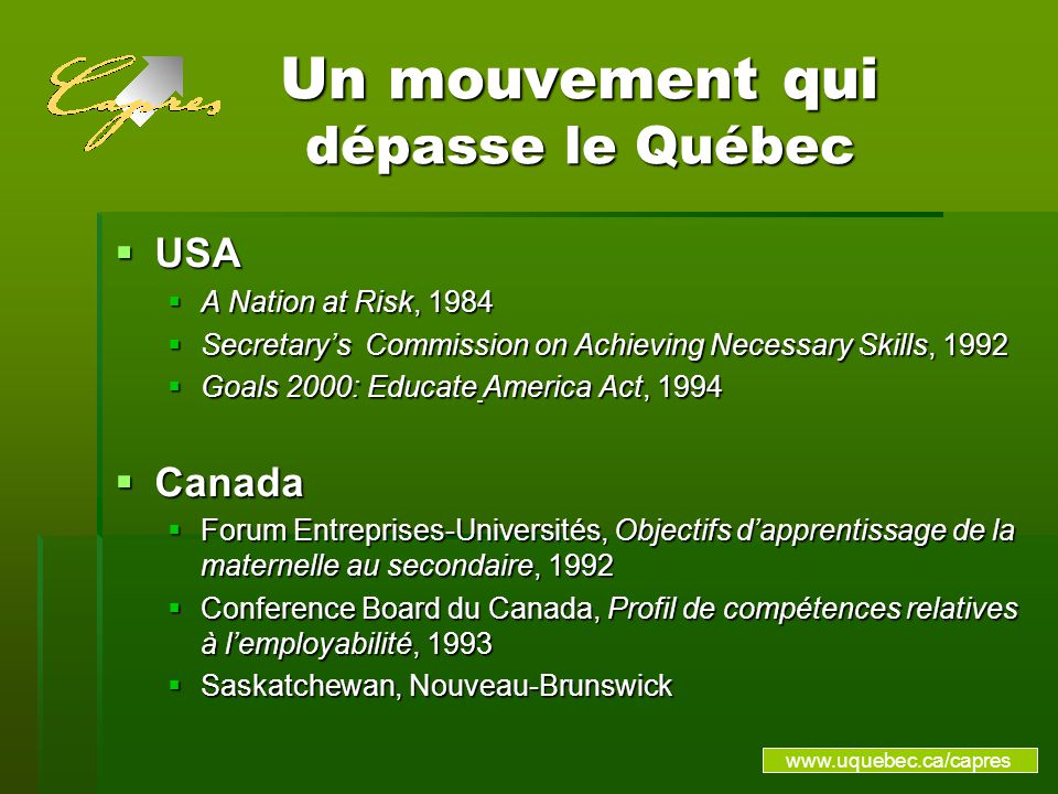 Un mouvement qui dépasse le Québec USA USA A Nation at Risk, 1984 A Nation at Risk, 1984 Secretarys Commission on Achieving Necessary Skills, 1992 Secretarys Commission on Achieving Necessary Skills, 1992 Goals 2000: Educate America Act, 1994 Goals 2000: Educate America Act, 1994 Canada Canada Forum Entreprises-Universités, Objectifs dapprentissage de la maternelle au secondaire, 1992 Forum Entreprises-Universités, Objectifs dapprentissage de la maternelle au secondaire, 1992 Conference Board du Canada, Profil de compétences relatives à lemployabilité, 1993 Conference Board du Canada, Profil de compétences relatives à lemployabilité, 1993 Saskatchewan, Nouveau-Brunswick Saskatchewan, Nouveau-Brunswick www.uquebec.ca/capres
