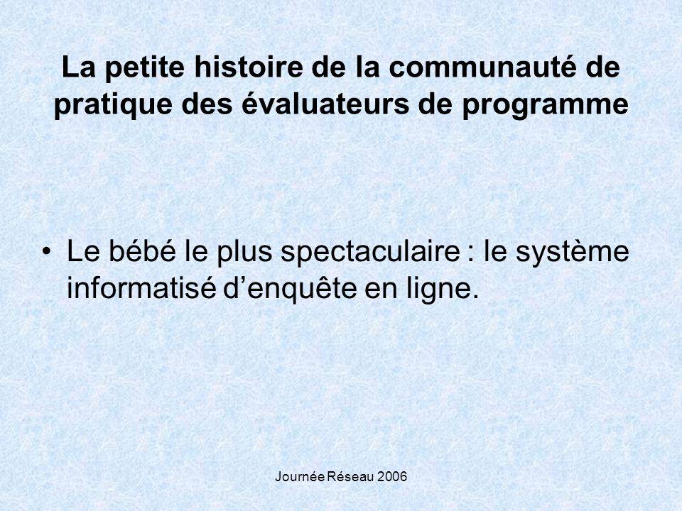 Journée Réseau 2006 La petite histoire de la communauté de pratique des évaluateurs de programme Le bébé le plus spectaculaire : le système informatisé denquête en ligne.