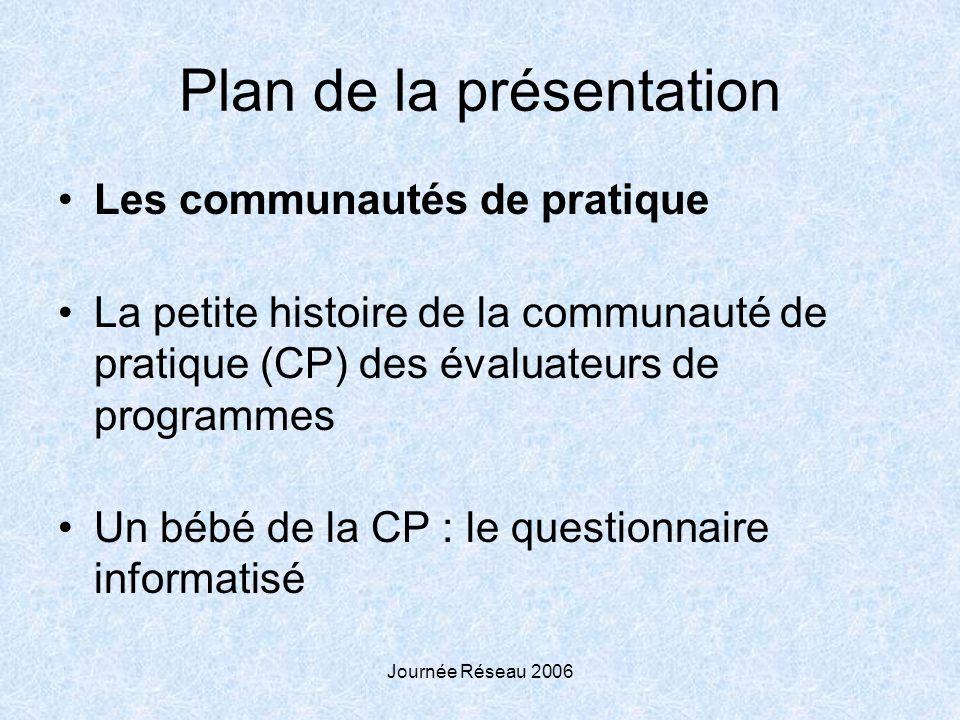 Journée Réseau 2006 Plan de la présentation Les communautés de pratique La petite histoire de la communauté de pratique (CP) des évaluateurs de programmes Un bébé de la CP : le questionnaire informatisé