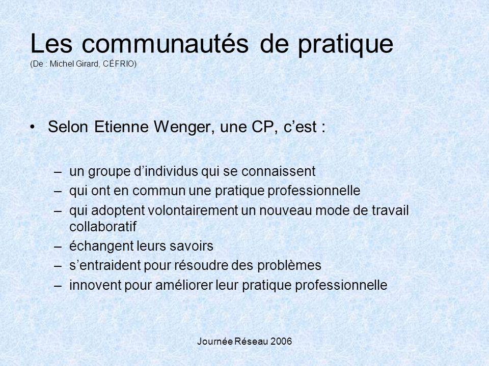 Journée Réseau 2006 Les communautés de pratique (De : Michel Girard, CÉFRIO) Selon Etienne Wenger, une CP, cest : –un groupe dindividus qui se connais
