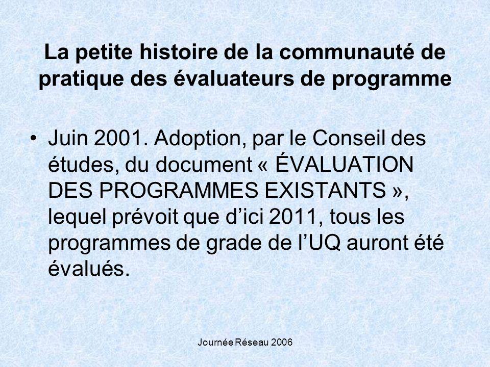 Journée Réseau 2006 La petite histoire de la communauté de pratique des évaluateurs de programme Juin 2001. Adoption, par le Conseil des études, du do
