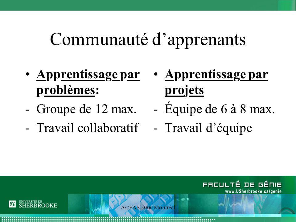 ACFAS 2006 Montréal Évaluation critériée Absence de distribution normale Tous peuvent mériter la note A+ Encouragement explicite à la collaboration Incomplet plutôt quéchec si un des éléments de compétences est échoué Examen de validation de compétences pour lever un incomplet