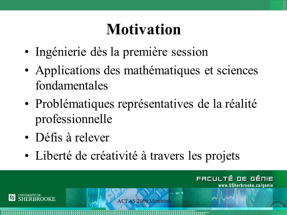 ACFAS 2006 Montréal Motivation Ingénierie dès la première session Applications des mathématiques et sciences fondamentales Problématiques représentatives de la réalité professionnelle Défis à relever Liberté de créativité à travers les projets