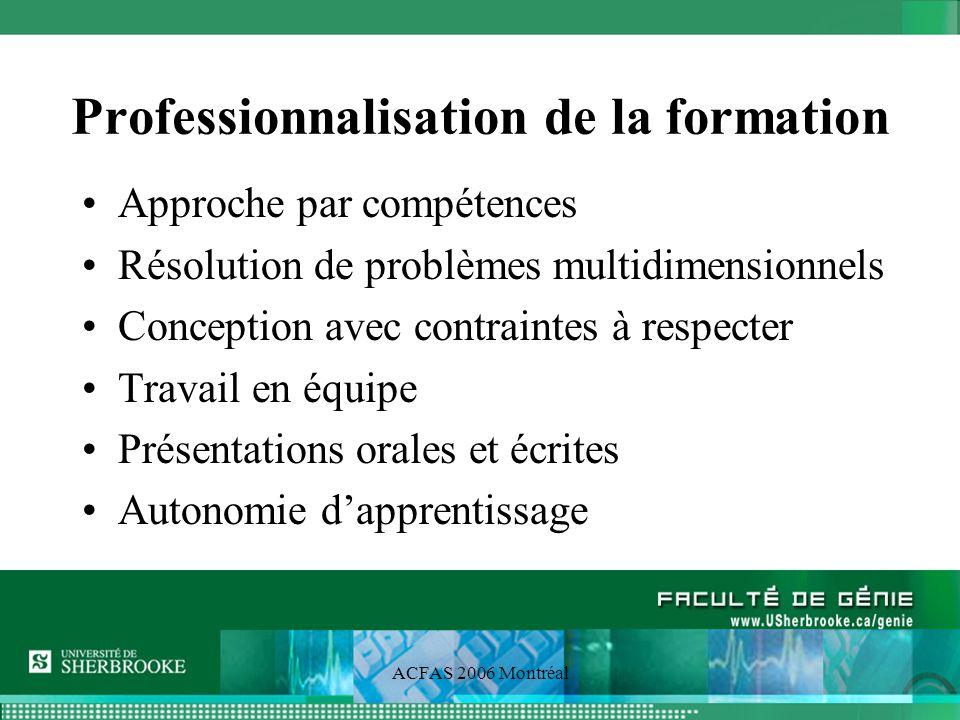 ACFAS 2006 Montréal Professionnalisation de la formation Approche par compétences Résolution de problèmes multidimensionnels Conception avec contraintes à respecter Travail en équipe Présentations orales et écrites Autonomie dapprentissage