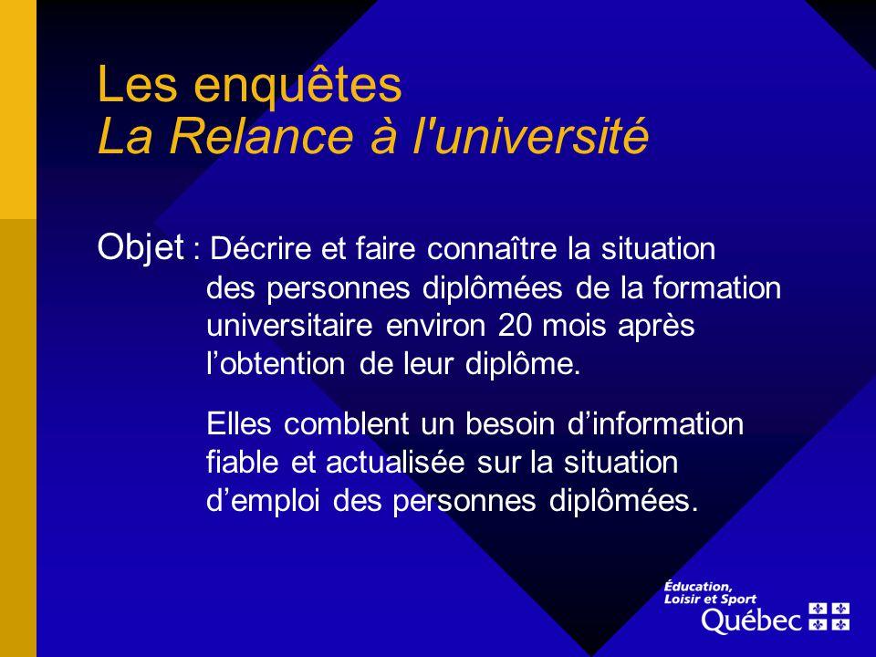 Les enquêtes La Relance à l'université Objet : Décrire et faire connaître la situation des personnes diplômées de la formation universitaire environ 2