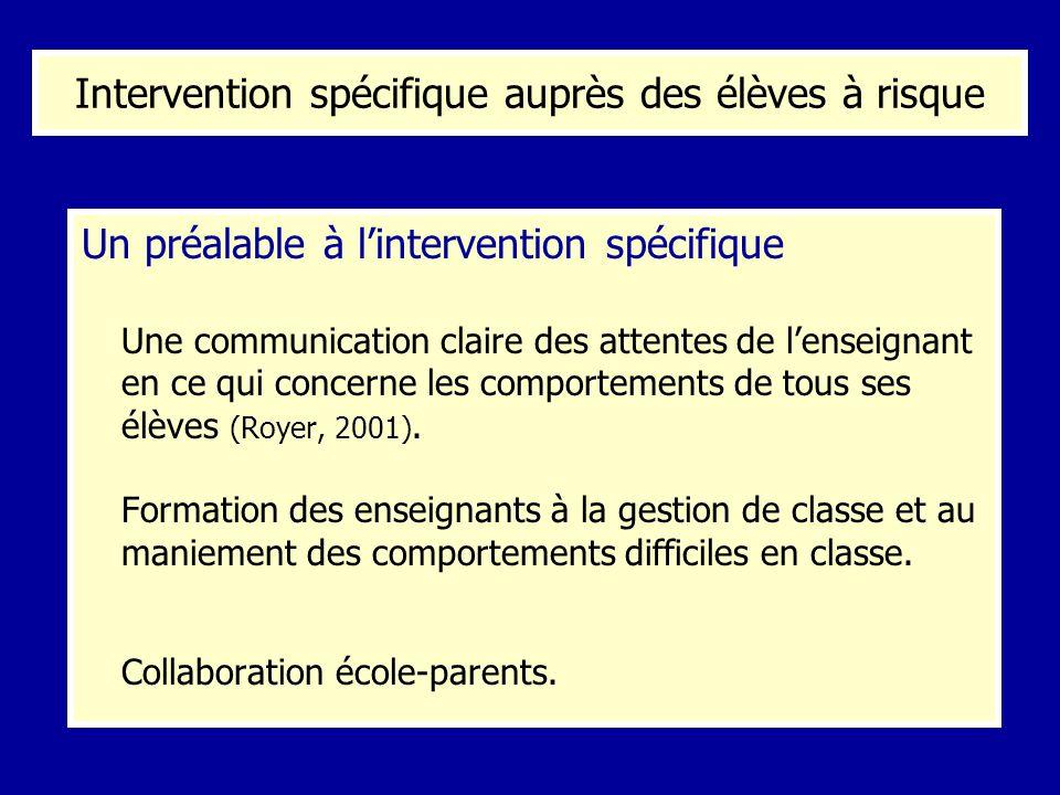 Un préalable à lintervention spécifique Une communication claire des attentes de lenseignant en ce qui concerne les comportements de tous ses élèves (