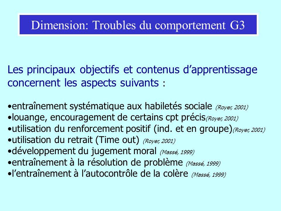 Les principaux objectifs et contenus dapprentissage concernent les aspects suivants : entraînement systématique aux habiletés sociale (Royer, 2001) lo