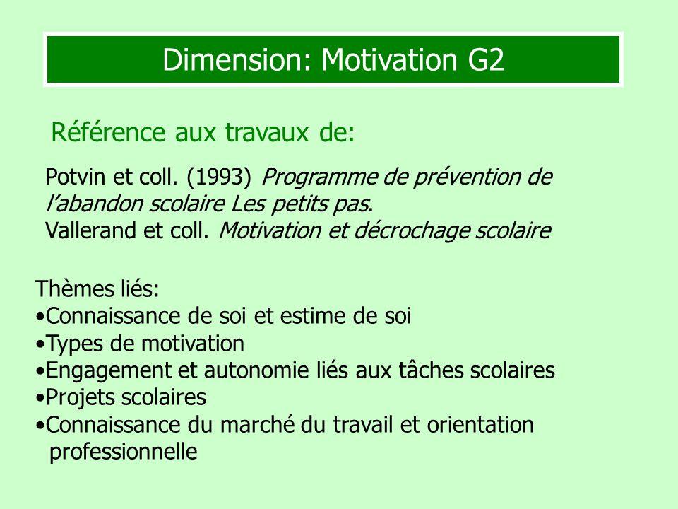 Dimension: Motivation G2 Potvin et coll. (1993) Programme de prévention de labandon scolaire Les petits pas. Vallerand et coll. Motivation et décrocha