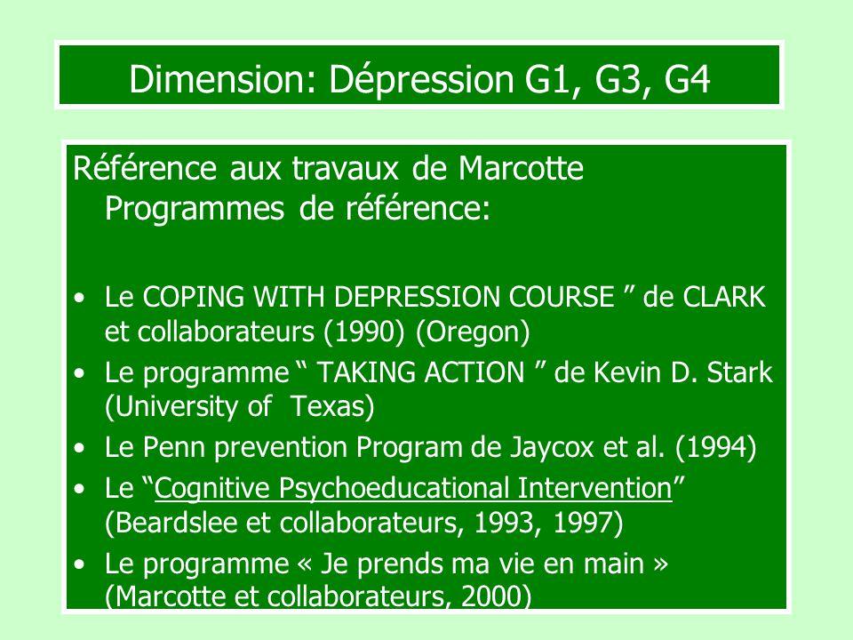 Dimension: Dépression G1, G3, G4 Référence aux travaux de Marcotte Programmes de référence: Le COPING WITH DEPRESSION COURSE de CLARK et collaborateur
