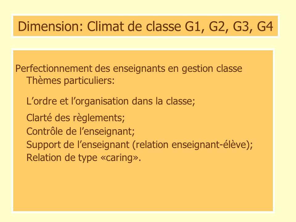 Dimension: Climat de classe G1, G2, G3, G4 Perfectionnement des enseignants en gestion classe Thèmes particuliers: Lordre et lorganisation dans la cla
