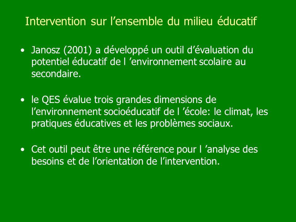Intervention sur lensemble du milieu éducatif Janosz (2001) a développé un outil dévaluation du potentiel éducatif de l environnement scolaire au seco