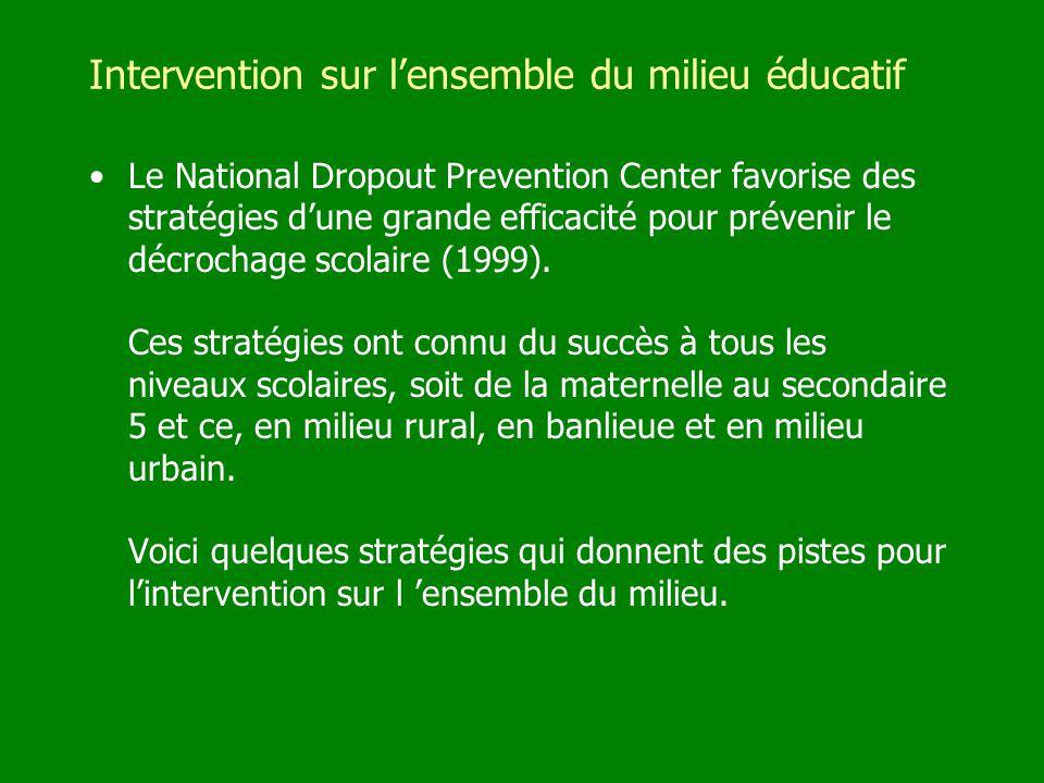 Intervention sur lensemble du milieu éducatif Le National Dropout Prevention Center favorise des stratégies dune grande efficacité pour prévenir le dé