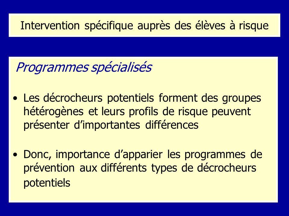 Intervention spécifique auprès des élèves à risque Programmes spécialisés Les décrocheurs potentiels forment des groupes hétérogènes et leurs profils