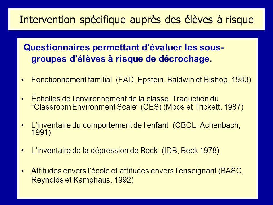 Questionnaires permettant dévaluer les sous- groupes délèves à risque de décrochage. Fonctionnement familial (FAD, Epstein, Baldwin et Bishop, 1983) É
