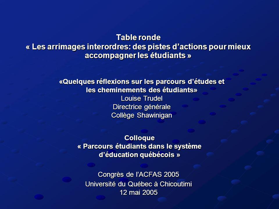 Table ronde « Les arrimages interordres: des pistes dactions pour mieux accompagner les étudiants » Colloque « Parcours étudiants dans le système dédu