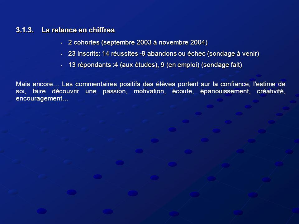 3.1.3. La relance en chiffres 2 cohortes (septembre 2003 à novembre 2004) 2 cohortes (septembre 2003 à novembre 2004) 23 inscrits: 14 réussites -9 aba