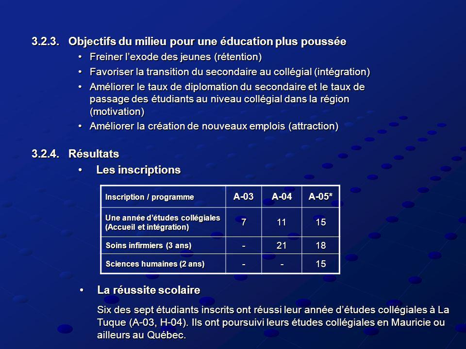 3.2.3. Objectifs du milieu pour une éducation plus poussée Freiner lexode des jeunes (rétention)Freiner lexode des jeunes (rétention) Favoriser la tra