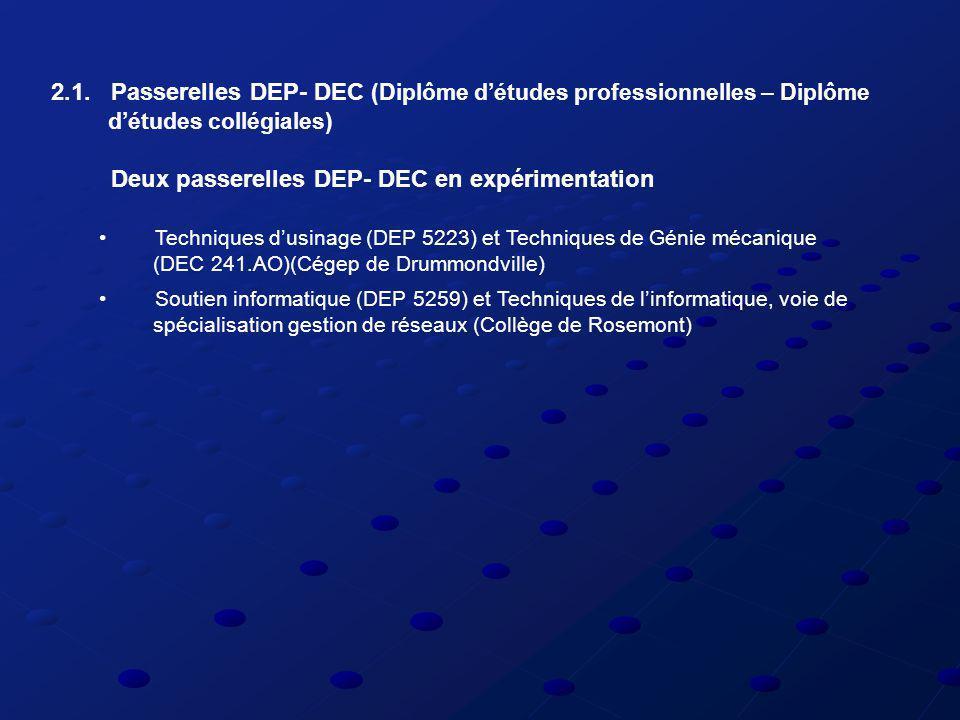 2.1. Passerelles DEP- DEC (Diplôme détudes professionnelles – Diplôme détudes collégiales) Deux passerelles DEP- DEC en expérimentation Techniques dus