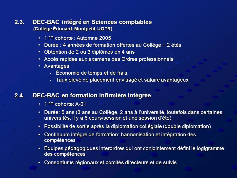 2.3. DEC-BAC intégré en Sciences comptables (Collège Édouard- Montpetit, UQTR) 1 ère cohorte : Automne 20051 ère cohorte : Automne 2005 Durée : 4 anné