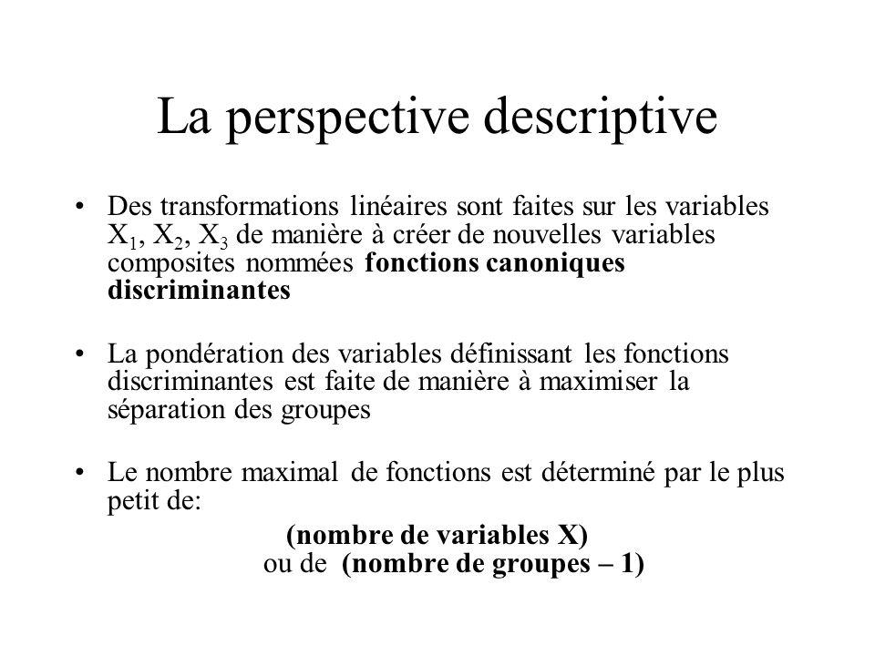 La perspective descriptive Des transformations linéaires sont faites sur les variables X 1, X 2, X 3 de manière à créer de nouvelles variables composi