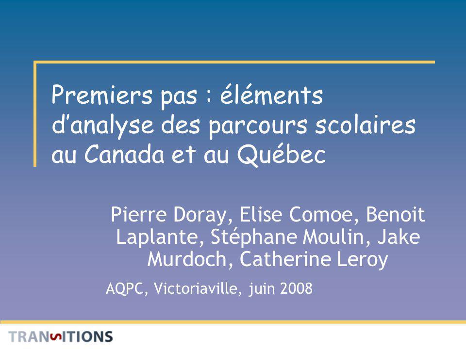 Premiers pas : éléments danalyse des parcours scolaires au Canada et au Québec Pierre Doray, Elise Comoe, Benoit Laplante, Stéphane Moulin, Jake Murdoch, Catherine Leroy AQPC, Victoriaville, juin 2008