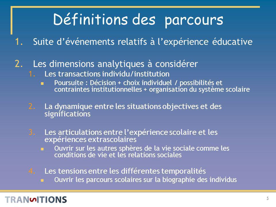 5 Définitions des parcours 1. Suite dévénements relatifs à lexpérience éducative 2.