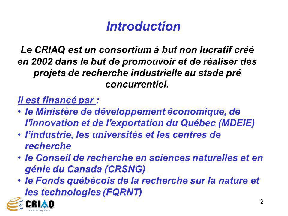 2 Il est financé par : le Ministère de développement économique, de l innovation et de l exportation du Québec (MDEIE) lindustrie, les universités et les centres de recherche le Conseil de recherche en sciences naturelles et en génie du Canada (CRSNG) le Fonds québécois de la recherche sur la nature et les technologies (FQRNT) Introduction Le CRIAQ est un consortium à but non lucratif créé en 2002 dans le but de promouvoir et de réaliser des projets de recherche industrielle au stade pré concurrentiel.