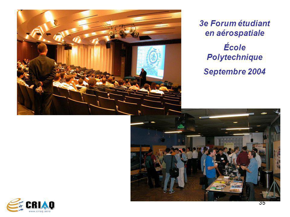35 3e Forum étudiant en aérospatiale École Polytechnique Septembre 2004