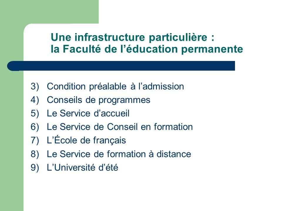 Une infrastructure particulière : la Faculté de léducation permanente 3) Condition préalable à ladmission 4) Conseils de programmes 5) Le Service dacc