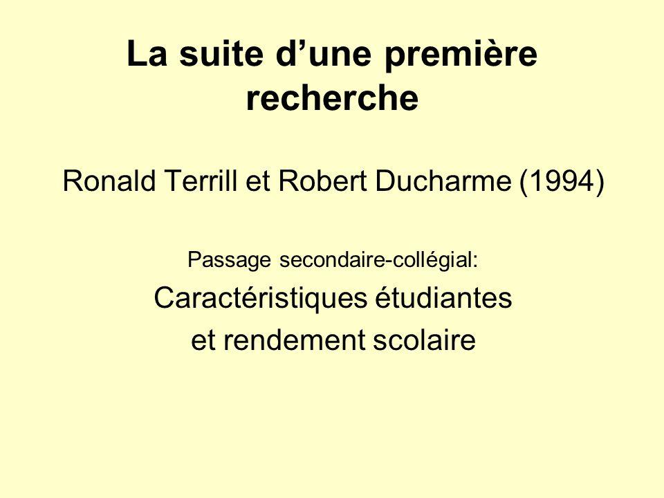 La suite dune première recherche Ronald Terrill et Robert Ducharme (1994) Passage secondaire-collégial: Caractéristiques étudiantes et rendement scolaire