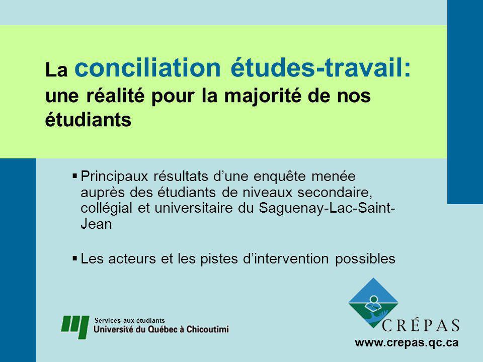 Le travail rémunéré des étudiants à temps plein au Saguenay-Lac-Saint-Jean Présentation de trois études de cas Principaux résultats www.crepas.qc.ca