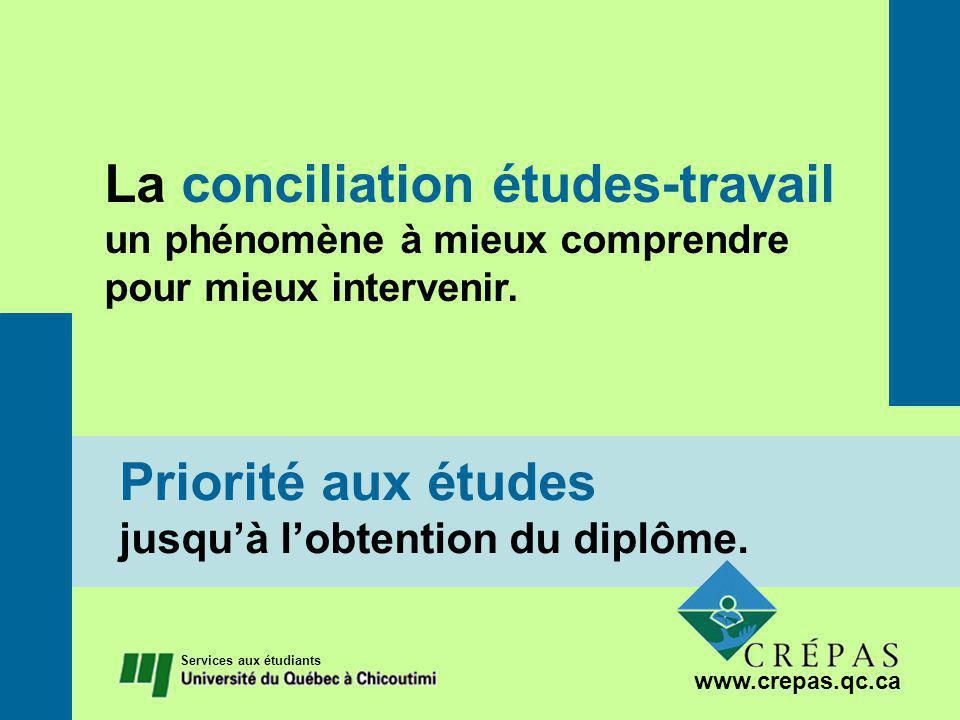 La conciliation études-travail un phénomène à mieux comprendre pour mieux intervenir.