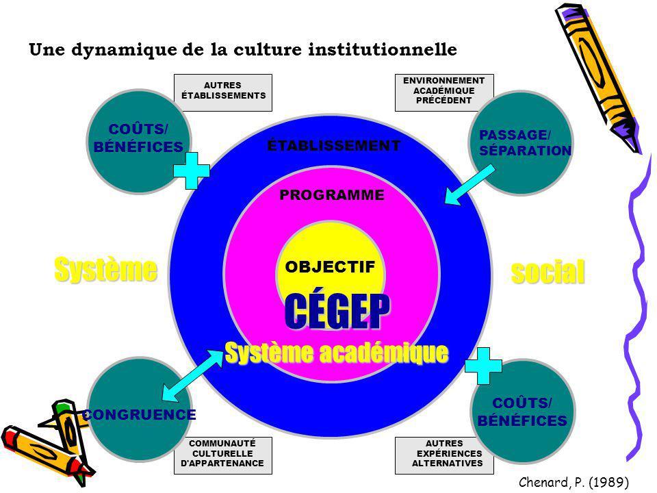 Une dynamique de la culture institutionnelle ENVIRONNEMENT ACADÉMIQUE PRÉCÉDENT AUTRES ÉTABLISSEMENTS AUTRES EXPÉRIENCES ALTERNATIVES COMMUNAUTÉ CULTU