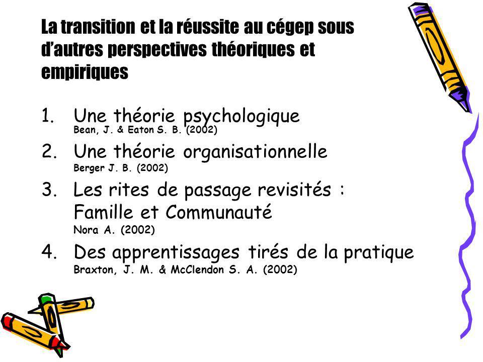 La transition et la réussite au cégep sous dautres perspectives théoriques et empiriques 1.Une théorie psychologique Bean, J. & Eaton S. B. (2002) 2.U