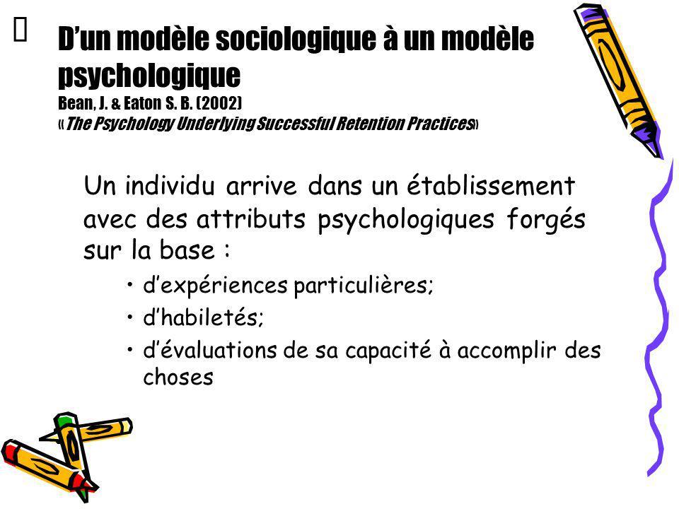 Dun modèle sociologique à un modèle psychologique Bean, J. & Eaton S. B. (2002) «The Psychology Underlying Successful Retention Practices» Un individu