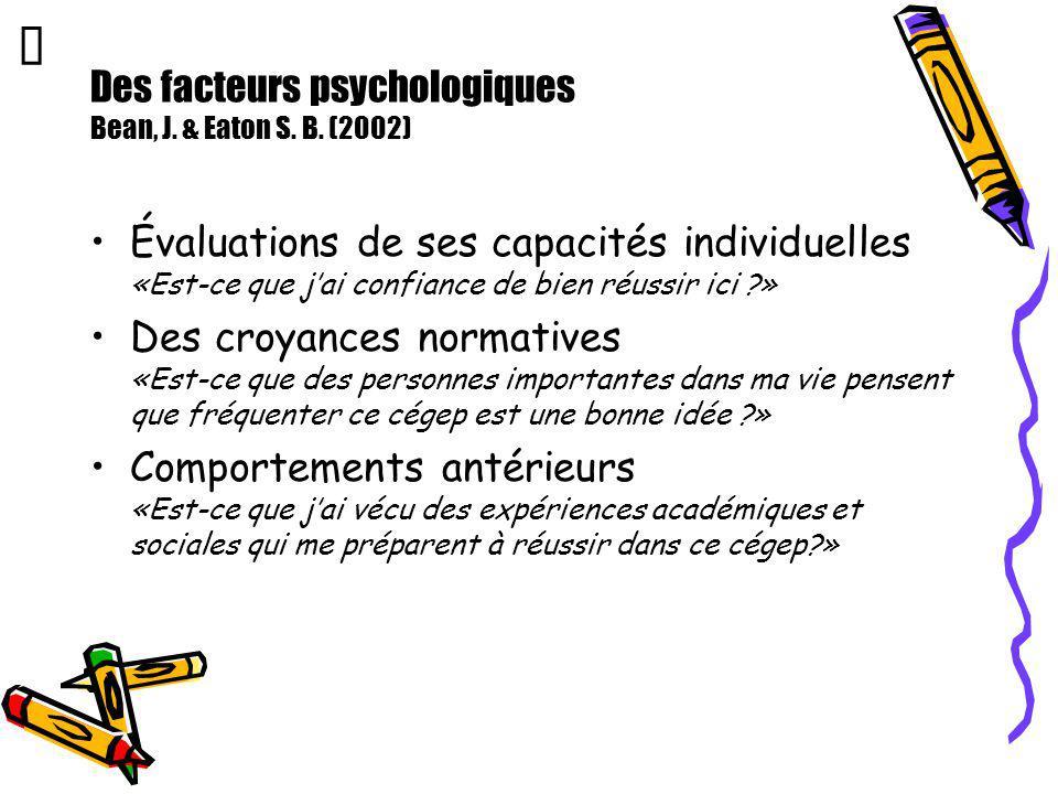 Des facteurs psychologiques Bean, J. & Eaton S. B. (2002) Évaluations de ses capacités individuelles «Est-ce que jai confiance de bien réussir ici ?»