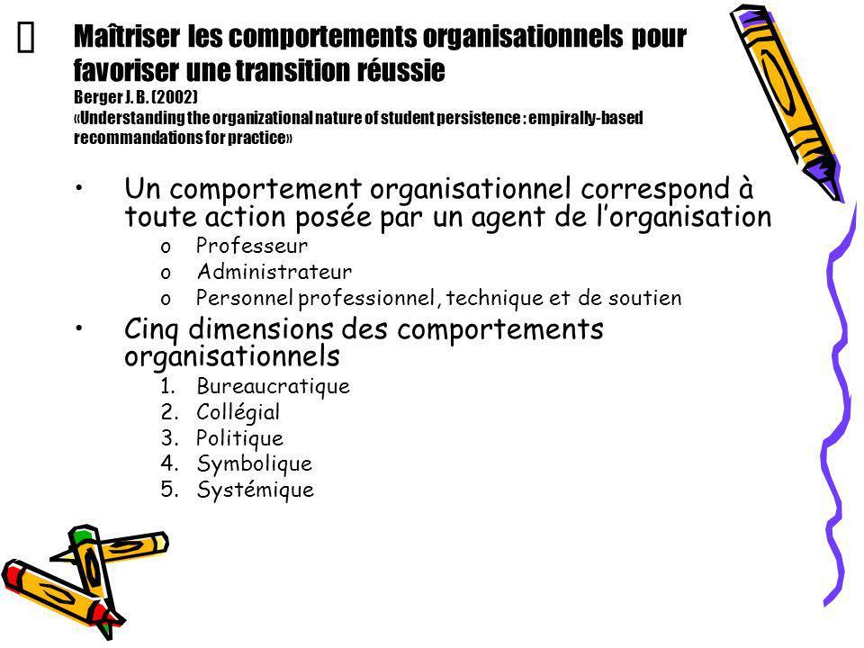 Maîtriser les comportements organisationnels pour favoriser une transition réussie Berger J. B. (2002) «Understanding the organizational nature of stu