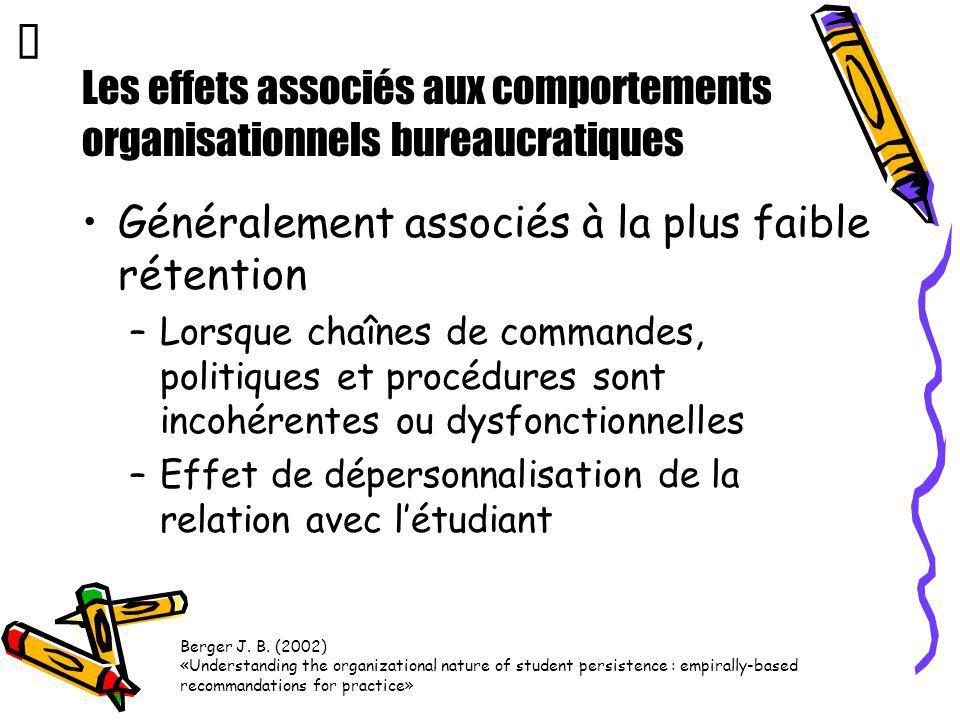 Les effets associés aux comportements organisationnels bureaucratiques Généralement associés à la plus faible rétention –Lorsque chaînes de commandes,