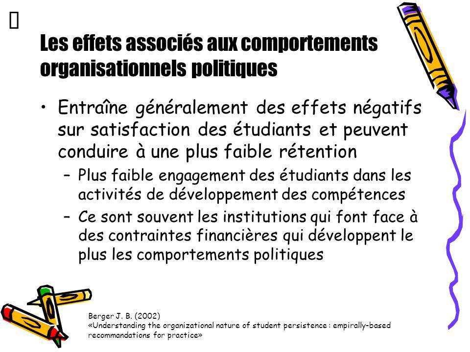 Les effets associés aux comportements organisationnels politiques Entraîne généralement des effets négatifs sur satisfaction des étudiants et peuvent
