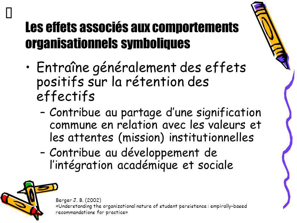Les effets associés aux comportements organisationnels symboliques Entraîne généralement des effets positifs sur la rétention des effectifs –Contribue