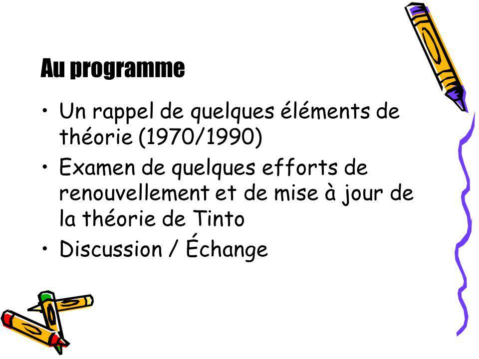 Au programme Un rappel de quelques éléments de théorie (1970/1990) Examen de quelques efforts de renouvellement et de mise à jour de la théorie de Tin