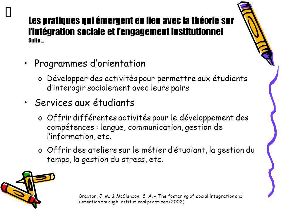 Les pratiques qui émergent en lien avec la théorie sur lintégration sociale et lengagement institutionnel Suite … Programmes dorientation oDévelopper