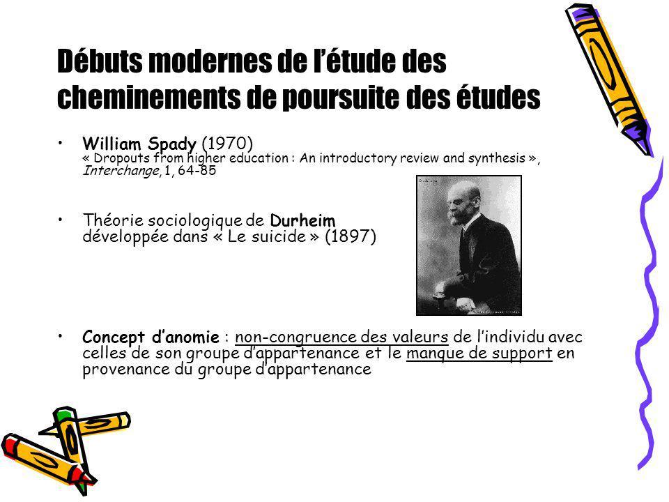 Débuts modernes de létude des cheminements de poursuite des études William Spady (1970) « Dropouts from higher education : An introductory review and